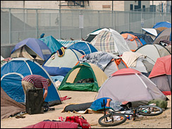 In Reno, officials decided to let the tent city be because homeless shelters were already filled. (AP)