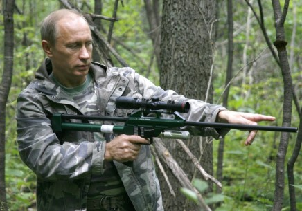 Russian Prime Minister Vladimir Putin holds tranquillizer gun during his visit to the Ussuriysky forest reserve of the Russian Academy of Sciences in the Far East on August 31, 2008. AFP PHOTO / RIA NOVOSTI POOL - ALEXEY DRUZHININ (Photo credit should read ALEXEY DRUZHININ/AFP/Getty Images)