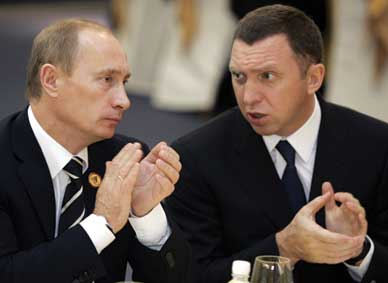 Russian President Vladimir Putin and metals oligarch Oleg Deripaska, 2006