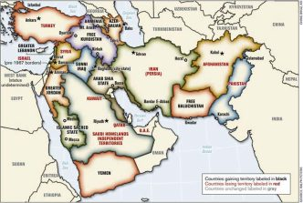 The following map was prepared by Lieutenant-Colonel Ralph Peters. It was published in the Armed Forces Journal in June 2006, Peters is a retired colonel of the U.S. National War Academy. (Map Copyright Lieutenant-Colonel Ralph Peters 2006).  Although the map does not officially reflect Pentagon doctrine, it has been used in a training program at NATO's Defense College for senior military officers. This map, as well as other similar maps, has most probably been used at the National War Academy as well as in military planning circles.
